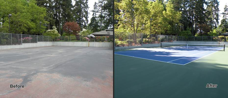 tennis court resurfacing before and after photos