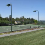 tennis court under lights